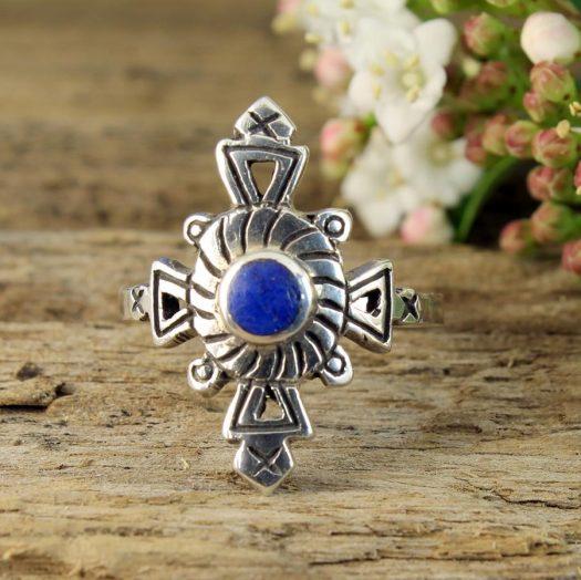 Lapis & Silver Aztec Ring R-0196-k