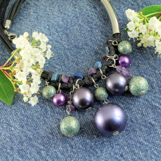 Mauve-Teal Hand-Painted Pearls N-0127-a