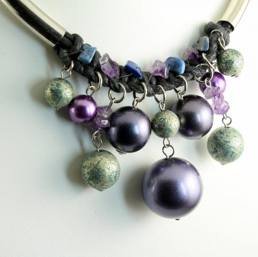 Mauve-Teal Hand-Painted Pearls N-0127-b