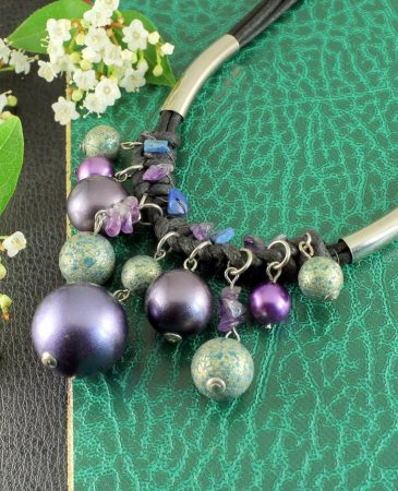Mauve-Teal Hand-Painted Pearls N-0127-g