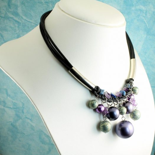 Mauve-Teal Hand-Painted Pearls N-0127-i