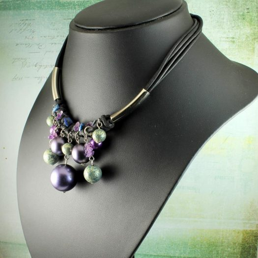 Mauve-Teal Hand-Painted Pearls N-0127-k