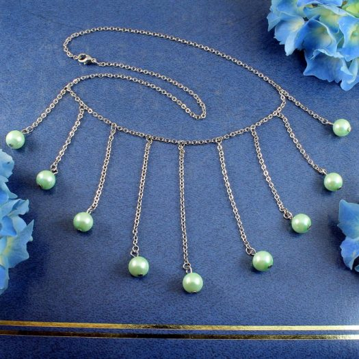 Mint Pearls Drop Necklace N-0105-a