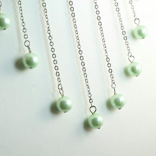 Mint Pearls Drop Necklace N-0105-b