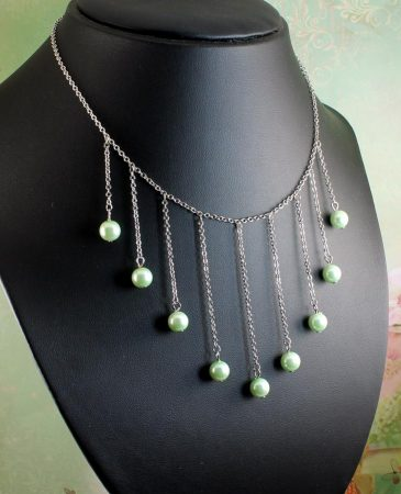 Mint Pearls Drop Necklace N-0105-