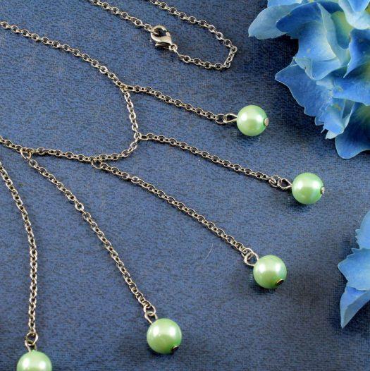 Mint Pearls Drop Necklace N-0105-d
