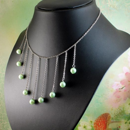 Mint Pearls Drop Necklace N-0105-e