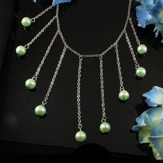 Mint Pearls Drop Necklace N-0105-f