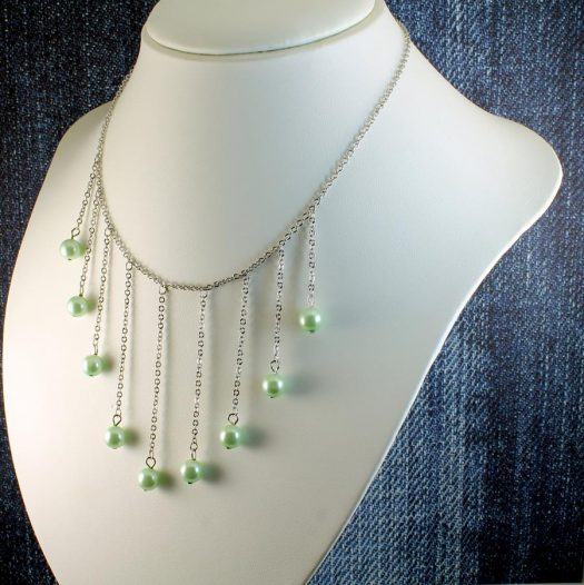 Mint Pearls Drop Necklace N-0105-g