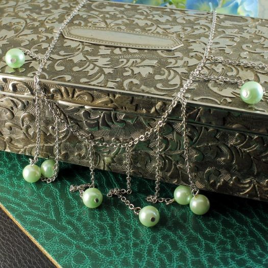 Mint Pearls Drop Necklace N-0105-h