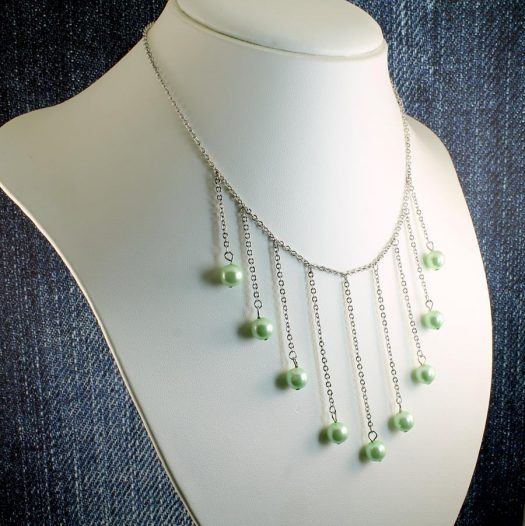 Mint Pearls Drop Necklace N-0105-i