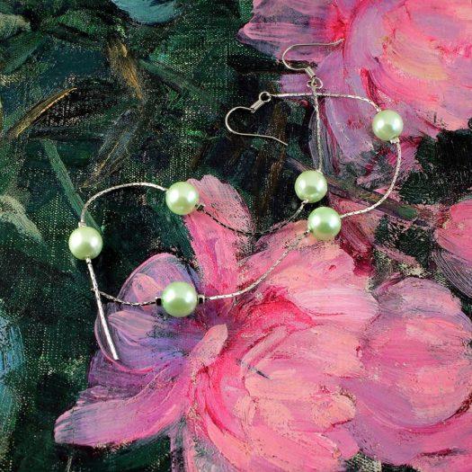 Mint Pearls Long Drops E-0153-a