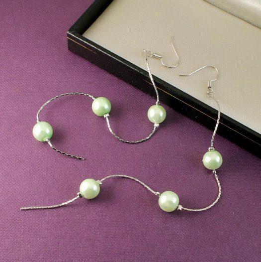 Mint Pearls Long Drops E-0153-b