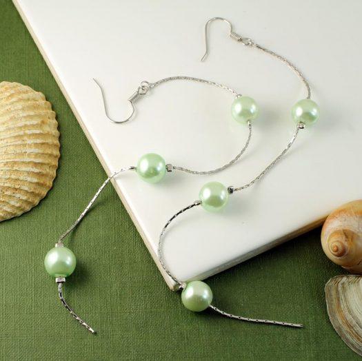 Mint Pearls Long Drops E-0153-d