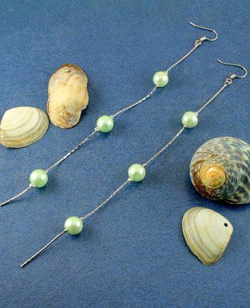 Mint Pearls Long Drops E-0153-f