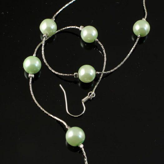 Mint Pearls Long Drops E-0153-i