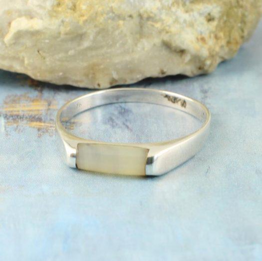 Moonstone Rectangle Ring R-0205-b