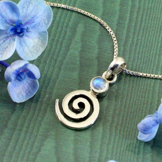 Moonstone Spiral Pendant N-0226-a
