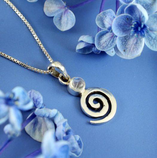 Moonstone Spiral Pendant N-0226-d