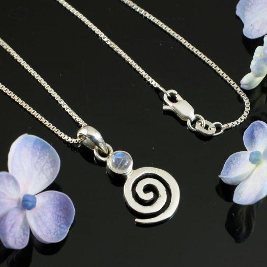 Moonstone Spiral Pendant N-0226-e