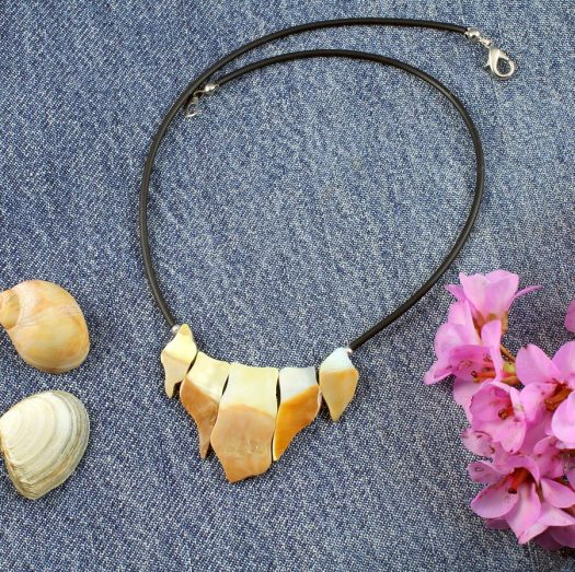 Mother-of-Pearl Chips Necklace N-0149-f