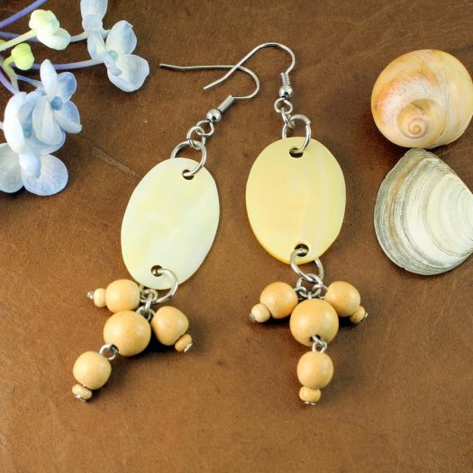 Mother-of-Pearl Wood Drops E-0113-d