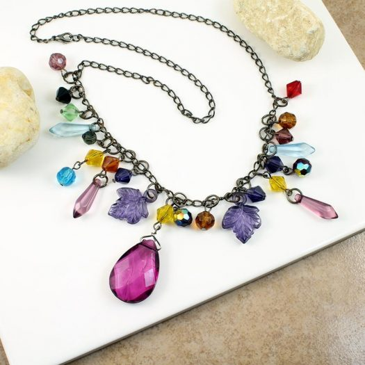 Multi-coloured Crystal Charms Necklace N-0155 -a