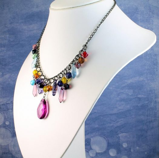 Multi-coloured Crystal Charms Necklace N-0155 -c
