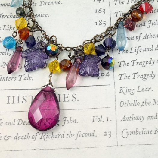 Multi-coloured Crystal Charms Necklace N-0155 -d