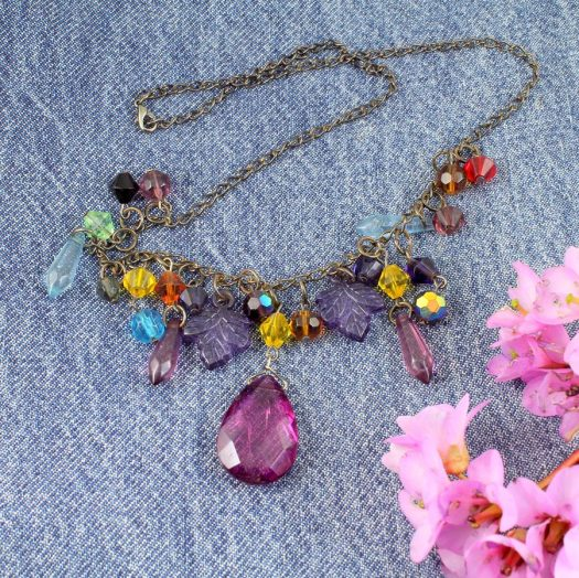 Multi-coloured Crystal Charms Necklace N-0155 -e