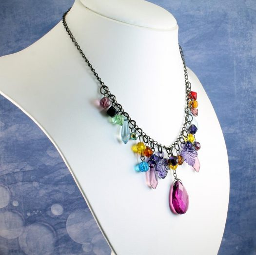 Multi-coloured Crystal Charms Necklace N-0155 -f