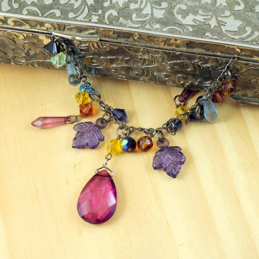 Multi-coloured Crystal Charms Necklace N-0155 -g