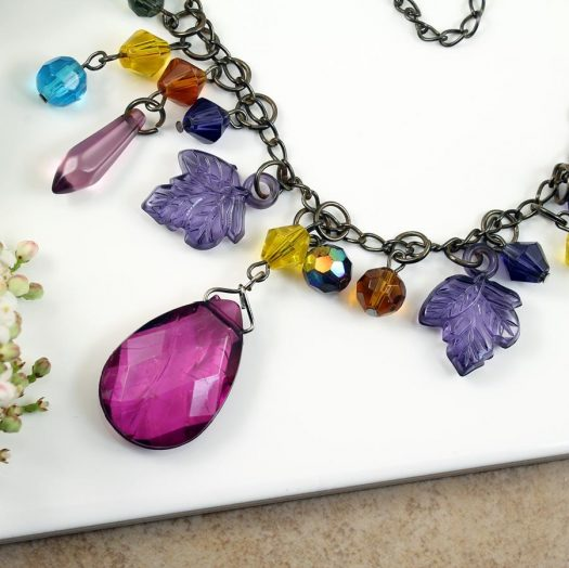 Multi-coloured Crystal Charms Necklace N-0155 -h