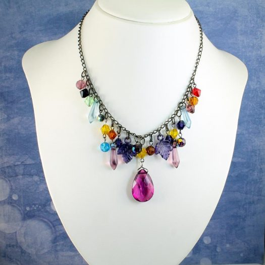Multi-coloured Crystal Charms Necklace N-0155 -i