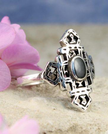 Onyx & Silver Aztec Ring R-0197-b
