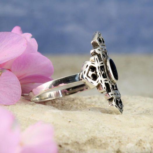 Onyx & Silver Aztec Ring R-0197-c