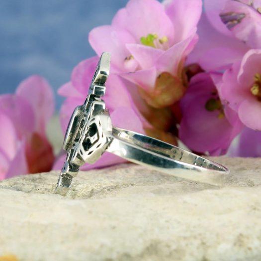 Onyx & Silver Aztec Ring R-0197-f