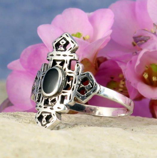 Onyx & Silver Aztec Ring R-0197-g