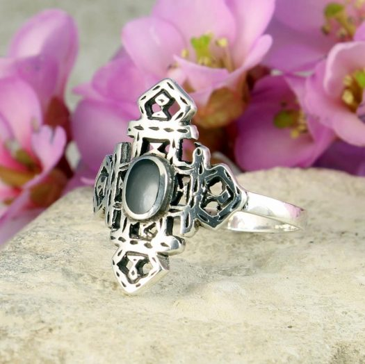 Onyx & Silver Aztec Ring R-0197-h