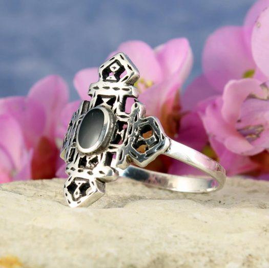 Onyx & Silver Aztec Ring R-0197-i