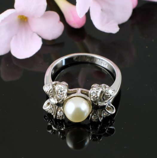 Pearl & Marcasite Ring R-0188-f
