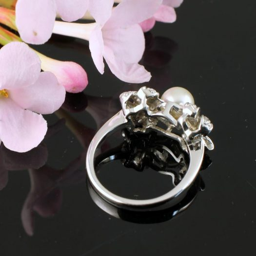Pearl & Marcasite Ring R-0188-h