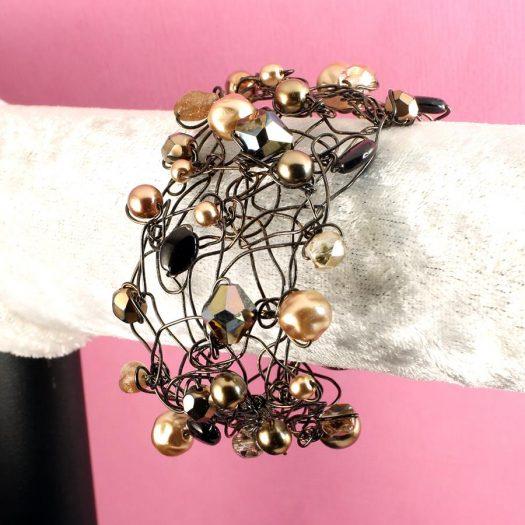 Pearl Wire-Wrapped Bracelet B-0159-f