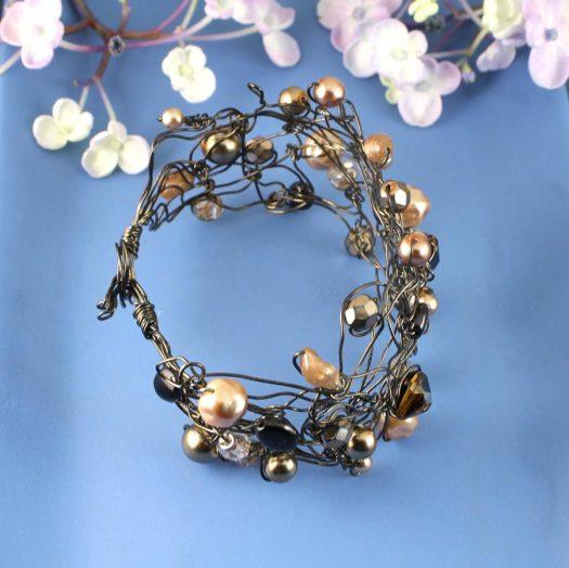 Pearl Wire-Wrapped Bracelet B-0159-i