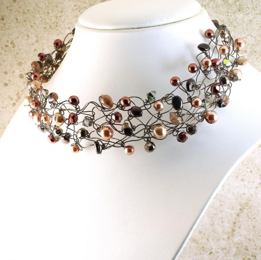 Pearl Wire Wrapped Collar N-0203-a