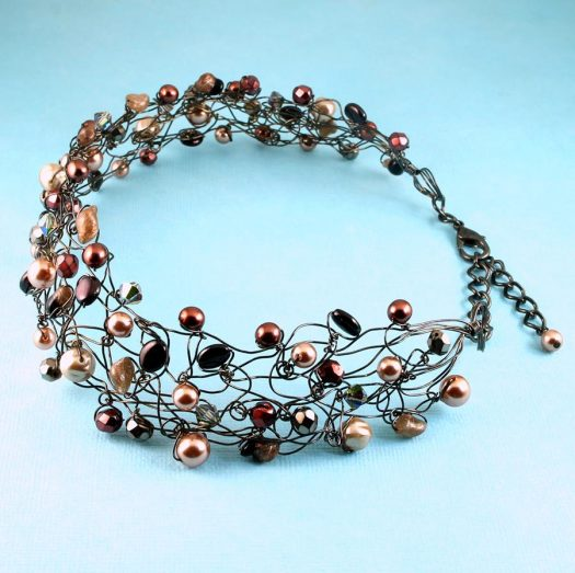 Pearl Wire Wrapped Collar N-0203-c