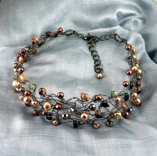 Pearl Wire Wrapped Collar N-0203-k