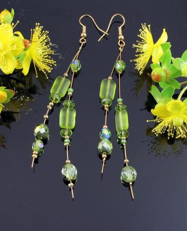 Peridot Green Long Drops E-0102-a