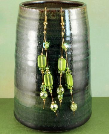 Peridot Green Long Drops E-0102-d