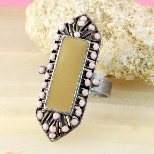 Pink & Caramel Shield Ring R-0210-a